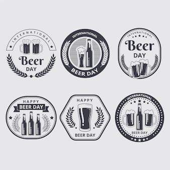 Zestaw etykiet międzynarodowego dnia piwa