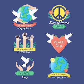 Zestaw etykiet międzynarodowego dnia pokoju