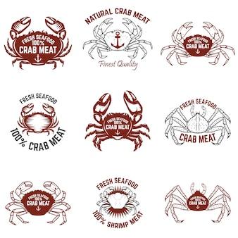 Zestaw etykiet mięsa kraba. świeże owoce morza. elementy logo, etykiety, godło, znak. ilustracja.