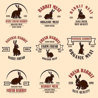 Zestaw etykiet mięsa króliczego. elementy projektu logo, etykieta, znak, odznaka, plakat. grafika wektorowa
