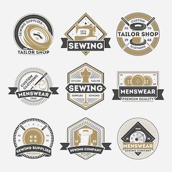 Zestaw etykiet na białym tle krawieckie firmy szwalnicze vintage