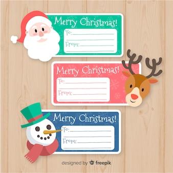 Zestaw etykiet na prezent świąteczny