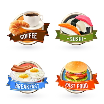 Zestaw etykiet na śniadanie