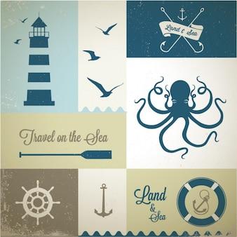 Zestaw etykiet nautical
