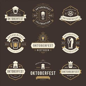 Zestaw etykiet, odznak i logo festiwalu piwa celebracja oktoberfest