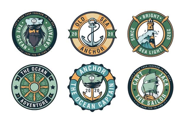 Zestaw etykiet odznaki żeglarskie, emblematy i logo