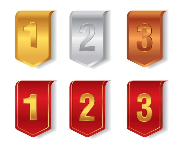 Zestaw etykiet osiągnięć złota, srebra i brązu