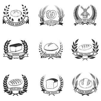 Zestaw etykiet piekarniczych. sklep chlebowy, świeży chleb. elementy etykiety, godło, znak. ilustracja