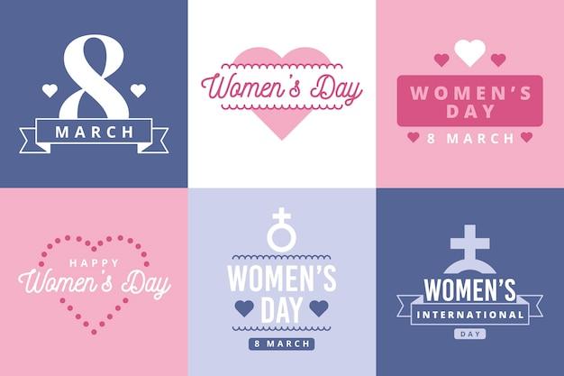 Zestaw etykiet płaski dzień kobiet