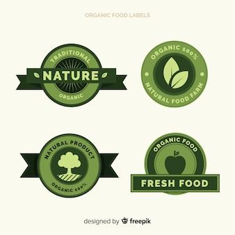 Zestaw etykiet płaskich organicznych owoców