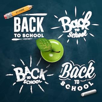 Zestaw etykiet powrót do szkoły. tło szkolne. tag powrotu do szkoły. ilustracja. ręcznie rysowane napis odznaki. zestaw emblematów typografii