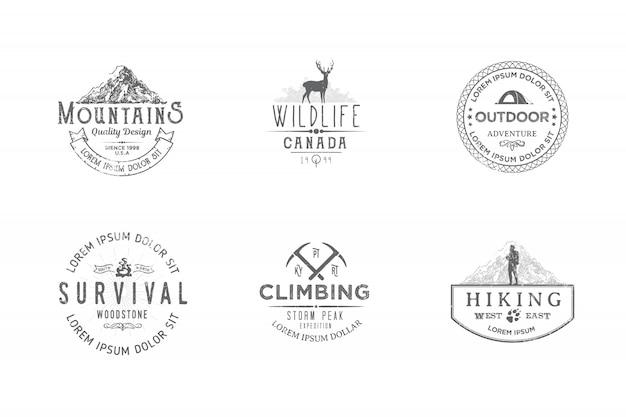 Zestaw etykiet premium na tematy związane z dziką przyrodą, przyrodą, polowaniem, podróżami, dziką przyrodą, wspinaczką, kempingiem, życiem w górach,