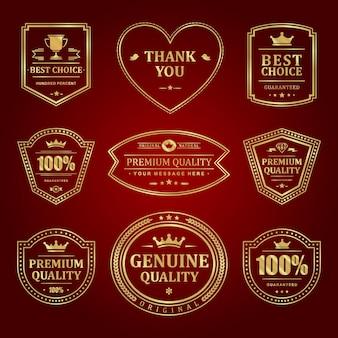 Zestaw etykiet premium ze złotymi ramkami. wysokiej jakości sprzedaż w starej jakości i elegancka dekoracja w kolorze czerwonym. znak korony i pucharu elitarnego certyfikatu jakości.