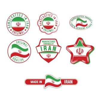 Zestaw etykiet przemysłowych z naklejkami produktowymi flagi iranu