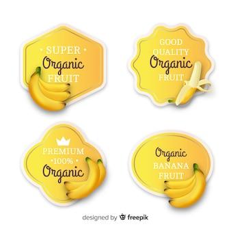 Zestaw etykiet realistycznych organicznych bananów