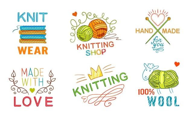 Zestaw etykiet ręcznie robionych na drutach