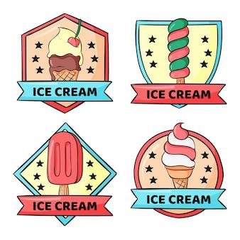 Zestaw etykiet ręcznie rysowane lody