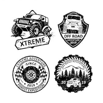 Zestaw etykiet rocznika emblematy offroad, emblematy i logo