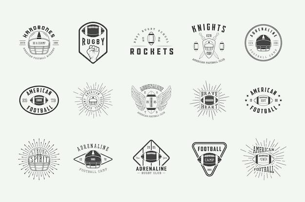 Zestaw etykiet rocznika rugby i futbolu amerykańskiego, herby, odznaki i logo. ilustracja wektorowa.