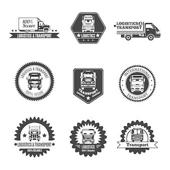 Zestaw etykiet samochodów ciężarowych