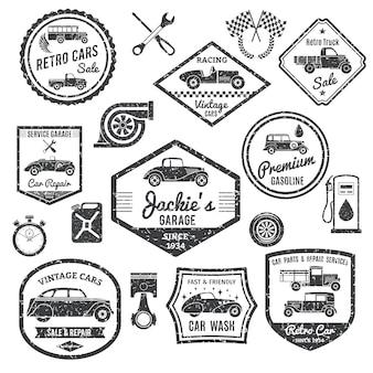 Zestaw etykiet samochodów retro
