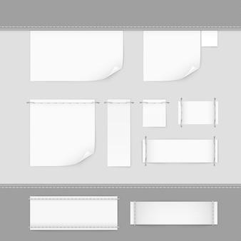 Zestaw etykiet ściegu zestaw biały na białym tle