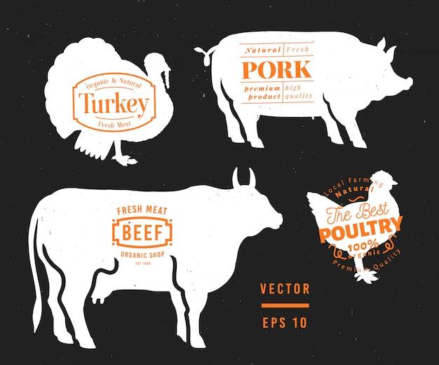 Zestaw etykiet sklepu mięsnego i elementów projektu. graficzny byk, świnia, indyk, sylwetki kurczaka