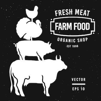 Zestaw etykiet sklepu mięsnego i elementów projektu