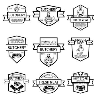 Zestaw etykiet sklepu mięsnego.