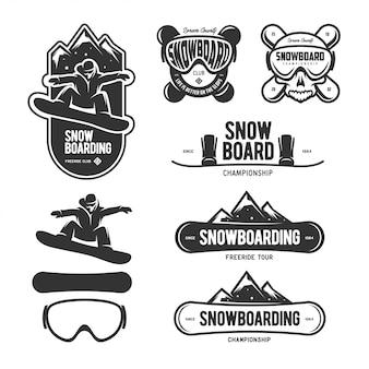 Zestaw etykiet snowboardowych. symbole sportów zimowych