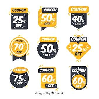 Zestaw etykiet sprzedaż kupon promocyjny