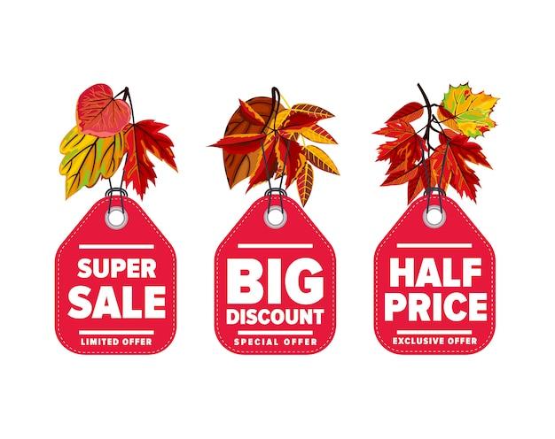 Zestaw etykiet sprzedaż sezonowa jesień