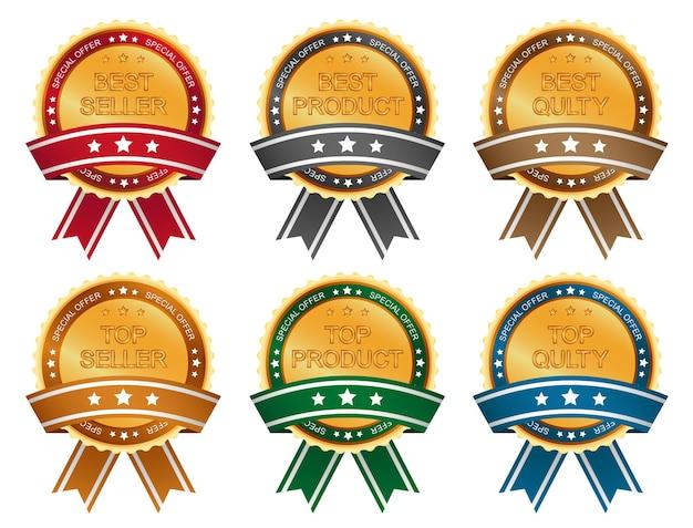 Zestaw etykiet sprzedażowych ze świecącymi złotymi elementami