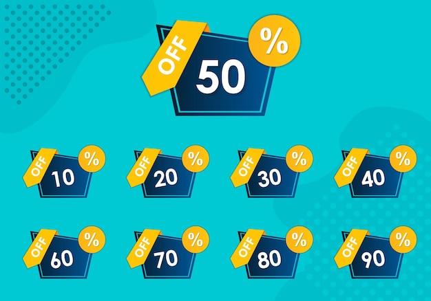 Zestaw etykiet sprzedaży dający pięćdziesiąt procent zniżki na tag marketingowy ze zniżką z okazją sprzedaży