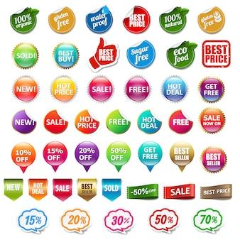 Zestaw etykiet sprzedaży i rabatów na białym tle