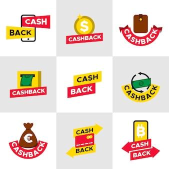 Zestaw etykiet streszczenie cashback