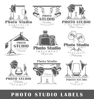 Zestaw etykiet studio fotograficzne vintage