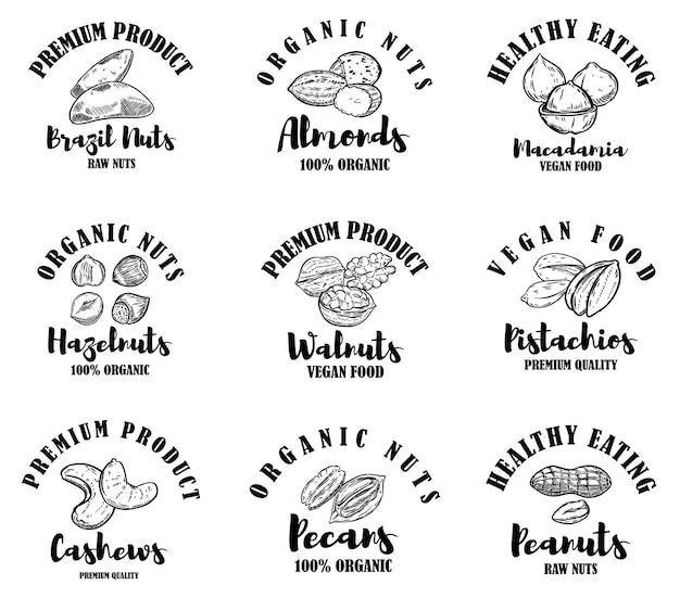 Zestaw etykiet surowych orzechów. element projektu logo, etykieta, znak.