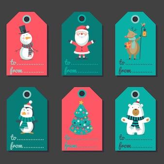 Zestaw etykiet świątecznych z postaciami.