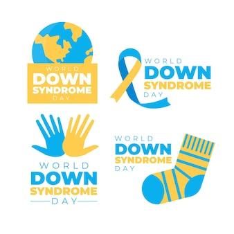Zestaw etykiet światowego dnia zespołu downa