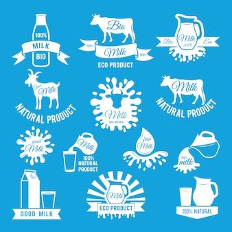 Zestaw etykiet świeżego mleka. ilustracje wektorowe do projektowania logo gospodarstwa
