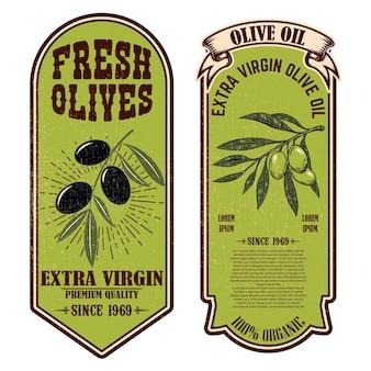 Zestaw etykiet świeżej oliwy z oliwek. element projektu plakatu, karty, banera, znaku.