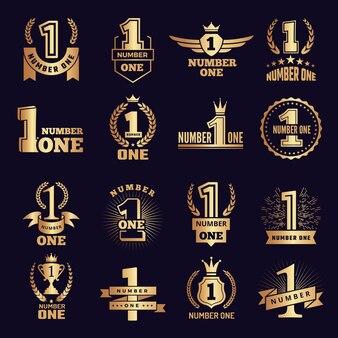 Zestaw etykiet symboli nagród za osiągnięcia w biznesie zwycięstwa.