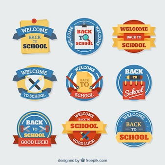 Zestaw etykiet szkolnych w kolorach