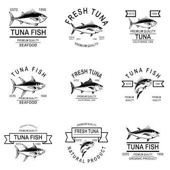 Zestaw etykiet tuńczyka