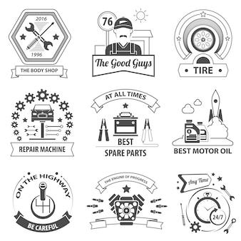 Zestaw etykiet usług samochodowych