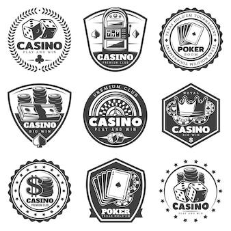 Zestaw etykiet vintage kasyno monochromatyczne