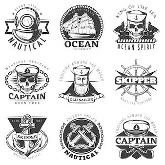 Zestaw etykiet vintage marynarz marynarki wojennej