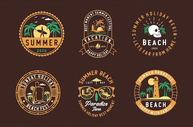 Zestaw etykiet vintage odznaki letnie, herby i logo
