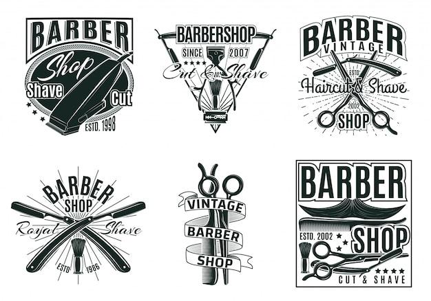 Zestaw etykiet vintage salon fryzjerski